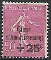 FRANCE   -  1929 . Y&T N° 254 *.   Semeuse Lignée.   Surchargé  Caisse D' Amortissement - Unused Stamps