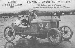 CPA Thèmes Transports Automobile Voitures NAUDIN A BROOKLAND 1908 RECORD DU MONDE DES 100 MILLES VOIR IMAGES - PKW