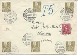 VALAIS WALLIS, 1938 Cachet CHAMPEX, Sur Timbre Taxe, Lettre Venant De GOLDERN-WASSERWENDI (HASLEBERG) BERN. - Lettres & Documents