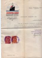 1926 YUGOSLAVIA, SERBIA, ZAGREB, BELGRADE, HAMBURG-SOUTH AMERICA, COMPANY LETTERHEAD, 2 FISKAL STAMPS, SHIP - Invoices & Commercial Documents