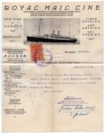 1926 YUGOSLAVIA, SERBIA, ZAGREB, BELGRADE, ROYAL MAIL LANE, COMPANY LETTERHEAD, 1 FISKAL STAMPS, SHIP - Invoices & Commercial Documents