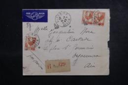 ALGÉRIE - Enveloppe De Alger En Recommandé Pour La France En 1945, Affranchissement Plaisant - L 44678 - Algeria (1924-1962)