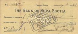 CHEQUE CHECK CUBA BANK OF NOVA SCOTIA AG. HAVANA 1945 - Cheques En Traveller's Cheques