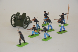 BRITAINS: Ensemble De Huit Soldat Nordistes US. On Y Joint Un Canon Britains En Métal. Etat D'usage. - Otras Colecciones