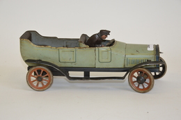"""BING, Vers 19200, Double Phaeton En Tôle Lithographiée Gris/bleuu, Moteur Mécanqiue, Marque """"B"""" à L'arrière, +:- 35cm, B - Otras Colecciones"""