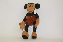 Peluche De Mickey, Début Années 30, Tissus Avec Culotte En Velour, Bouche Ouverte, Hauteur: 30 Cm. Bon état De Conservat - Otras Colecciones