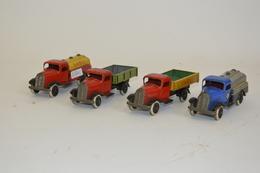 LEHMANN GNOM TOY (Germany): Quatre Camions En Tôle, Deux Bennes Et Deux Citernes. Réf: Nr 835, 814, 830 Et 813. Traces D - Otras Colecciones