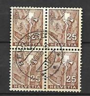 Suisse. Yvert Et Tellier N° 276. Bloc De 4 Oblitérés. Oblitération Bévilard. .. - Used Stamps