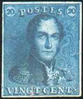 Réimpression De 1866 Du 20 Centimes EPAULETTE En Bleu Foncé Sur Papier épais Uni. Petite Fente Recollée Sinon TB. - B/TB - 1849 Schulterklappen