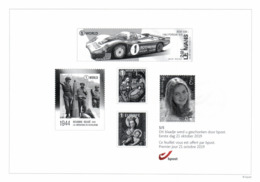 Belgium 2019 Black And White Sheetlet BPost 21-Oct-2019 Le Mans Car Racing WWII Bastogne Princess Elisabeth Christmas - Foglietti Bianchi & Neri