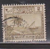 MALDIVE ISLANDS Scott # 20 Used - Sailboat & Palm Trees - Maldives (...-1965)