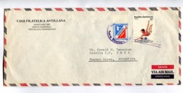 """REPUBLICA DOMINICANA - """"CASA FILATELICA ANTILLANA"""" COMMERCIAL ENVELOPPE CIRCULEE A BUENOS AIRES CIRCA 1986 -LILHU - Dominikanische Rep."""
