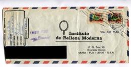"""ECUADOR - """"INSTITUTO DE BELLEZA MODERNA"""" COMMERCIAL ENVELOPPE CIRCULEE PICHINCHA A MIAMI, ANNEE 1959, PAR AVION -LILHU - Ecuador"""
