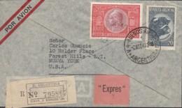 ARGENTINIEN  506, 566 MiF Auf Luftpost-R-Eil-Brief Nach New York, Gestempelt Buenos Aires 2.AGO 1949 - Luftpost
