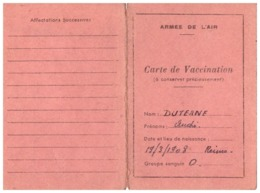 CARTE DE VACCINATION -ARMEE DE L'AIR -  PLACE AIR DE MAISON BLANCHE - Documents
