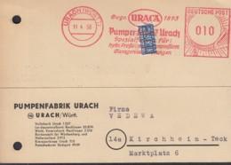 BRD Freistempel Deutsche Post 010 (Pf) Auf PK Der Pumpenfabrik, Gestempelt: Urach 11.4.1950 - [7] Repubblica Federale