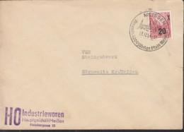 DDR MiNr. 439 A I EF Auf Brief Mit Sonderstempel: Meissen 1000jährige Stadt 27.12.1954 - [6] Democratic Republic