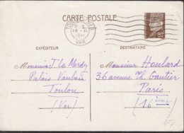 Frankreich. MiNr. P 91 PK Mit Stempel: Toulon 18.XI.1941 - Standard- Und TSC-AK (vor 1995)