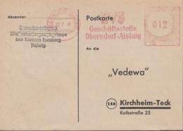 Freistempel Deutsche Post 012 (Pf) Auf PK Des Wasserversorgungs-Zweckverbandes Aistaig, Gestempelt: Oberndorf 3.7.1948 - Zona Francese