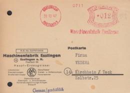 Freistempel Deutsches Reich 012 (Pf) Auf PK Der Maschinenfabrik, Gestempelt: Esslingen 31.10.1947 - Zona Anglo-Americana