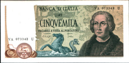 7291)splendida BANCONOTA LIRE 5000 COLOMBO II TIPO 3 CARAVELLE 1977-FDS Vedi Foto - [ 2] 1946-… : Républic