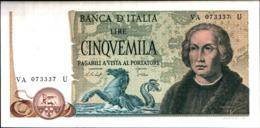 7293)splendida BANCONOTA LIRE 5000 COLOMBO II TIPO 3 CARAVELLE 1977-FDS Vedi Foto - [ 2] 1946-… : Republiek