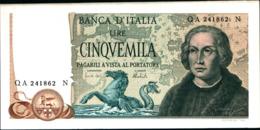 7294)splendida BANCONOTA LIRE 5000 COLOMBO II TIPO 3 CARAVELLE 1971-FDS Vedi Foto - [ 2] 1946-… : Repubblica