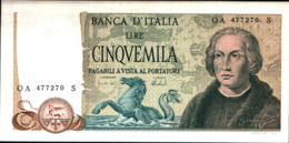 7318)splendida BANCONOTA LIRE 5000 COLOMBO II TIPO 3 CARAVELLE 1973-FDS Vedi Foto - [ 2] 1946-… : Republiek