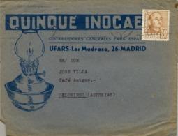 """SOBRE COMERCIAL ILUSTRADO , MADRID - ASTURIAS , """" QUINQUÉ INOCAE """" - 1931-Hoy: 2ª República - ... Juan Carlos I"""