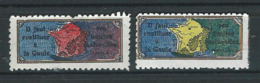 2 VIGNETTES PATRIOTIQUES DELANDRE - Les Limites De La France - WWI WW1 Cinderella Poster Stamp 1914 1918 - Vignettes Militaires