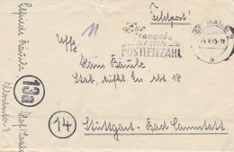 Feldpost Hof (Saale) Nach Stuttgart Aufkl. Ers. Abt. 18 - Werbestempel Postleitzahl - 1945 - Mit Inhalt (44464) - Alemania
