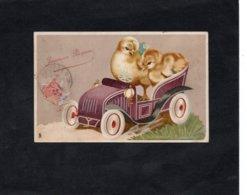"""CPA - JOYEUSES PAQUES - Carte Postale """"TUCK""""  -  Poussins Dans Une Voiture - Easter"""