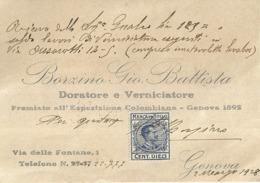"""5627 """"BORZINO GIO. BATTISTA-DORATORE E VERNICIATORE-PREMIATO ALL'ESP. COLOMBIANA-GENOVA 1892""""BIGLIETTO ORIGINALE - Visiting Cards"""