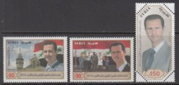 2014 Syria Syrie President Bashir Flags Military Doctor Health  Complete Set Of 3  MNH - Syrië