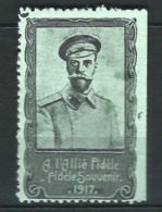 VIGNETTE PATRIOTIQUE DELANDRE - NICOLAS II RUSSIA  RUSSIE -  WWI WW1 Cinderella Poster Stamp 1914 1918 - Commemorative Labels