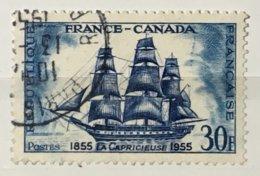 Timbres France 1955 YT 1035 (°) Obl Amitié Franco Canadienne Frégate La Capricieuse (côte 6 Euros) – 178N - France