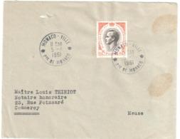 MONACO VILLE Lettre 0,25 F Rainier III Ob   5 4 1961 Dest Commercy Meuse - Monaco