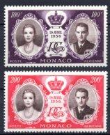 1956 MONACO AIRMAIL - PRINCE RAINIER III WEDDING MICHEL: 566-567 MH * - Monaco