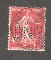 Perfin/perforé/lochung France No 194 BNU Banque Nationale Ultramarino - Perfins