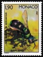 Timbre-poste Gommé Neuf** - Faune Insectes Du Parc National Du Mercantour Guêpe Dorée - N° 1568 (Yvert) - Monaco 1987 - Ungebraucht