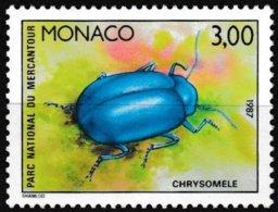 Timbre-poste Gommé Neuf** - Faune Insectes Du Parc National Du Mercantour Chrysomèle - N° 1571 (Yvert) - Monaco 1987 - Monaco