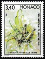 Timbre-poste Gommé Neuf** Faune Insectes Du Parc National Du Mercantour Sauterelle Verte - N° 1572 (Yvert) - Monaco 1987 - Monaco