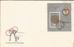 J) 1975 CARIBE, VII PANAMERICAN SPORTS GAMES, AZTECA CALENDAR, STAMP ON STAMP, FDC - Otros