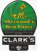 CLARK'S BREWERY (WAKEFIELD, ENGLAND) - SHERWOOD'S BEST BITTER - LAMINATED PUMP CLIP FRONT - Enseignes