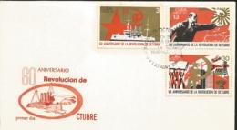 V) 1977 CARIBBEAN, OCTOBER REVOLUTION, RUSSIA, 60TH ANNIVERSARY, CRUISER AURORA, LENIN, FLAGS, HAMMER, FDC - FDC