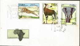 V) 1978 CARIBBEAN, AFRICAN FAUNA, HAVANA ZOO, OKAPI, LEOPARD, ELEPHANT, WITH SLOGAN CANCELATION IN BLACK, FDC - FDC