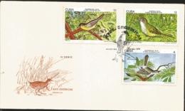 V) 1978 CARIBBEAN, ENDEMIC BIRDS, CHILLINA, CABRITO DE LA CIENAGA, SINSONTILLO,  WITH SLOGAN CANCELATION IN BLACK, FDC - FDC
