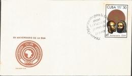 V) 1978 CARIBBEAN, XV ANNIVERSARY OF THE OUA, BLACK CANCELLATION, FDC - FDC