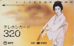 TC Japon / NTT 110-016 - 320 U - Femme Geisha Peinture  ** ONE PUNCH ** - Woman Girl & Fan Japan National Phonecard - 03 - Japan