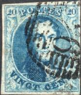 BELGIUM KING LEOPOLD I MEDAILLON 20c Blue, Postmarked 26 BAR CANCEL ( Unknown Watermark ) - Belgium
